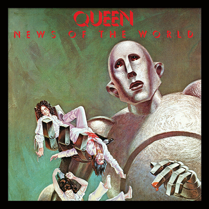 "The cover image used for the Queen album ""News of the World"", from 1977. The image shows a giant robot holding the dead bodies of two band memebers in its hand, while another dead band member falls from its grasp. The iamge is a re-working of a sci-fi painting from the 1950s."