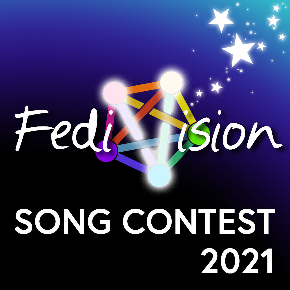 """The Fedivision logo. It shows the five-point-star fediverse logo, but two of the lines glow, forming the """"v"""" of """"Fedivision"""". There are also stars!"""