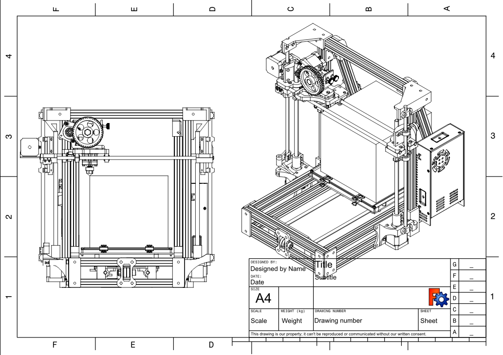 A technical drawing page showing a front view and an isometric view of a personal 3D printer.