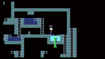 a character holding an orb surrounded by ladders, water, and brick walls