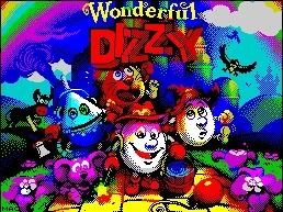 "The title screen for a retro style game showing the protagonist, Dizzy, a very happy egg with arms and legs and a red hat. An assortment of Wizard of Oz themed characters surrounds them. The title reads ""Wonderful Dizzy"" under a rainbow."
