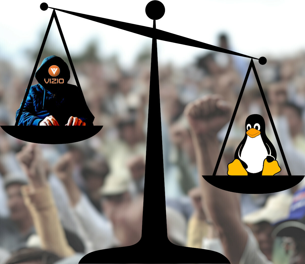 A scales of justice; on the high pan, a hacker in a hoodie, their face replaced by a Vizio logo; on the lower scale, Tux the Penguin; in the background, a washed out and blurred image of a mass demonstration whose participants are raising their fists.<br /><br /><br /><br />Image:<br />Nathan Keirn (modified)<br />https://commons.wikimedia.org/wiki/File:Closeup_of_protesters_at_Ginowan_protests_2009-11-08.jpg<br /><br />CC BY-SA:<br />https://creativecommons.org/licenses/by-sa/2.0/deed.en